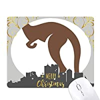 オーストラリアのカンガルーの茶色味のシルエット クリスマスイブのゴムマウスパッド