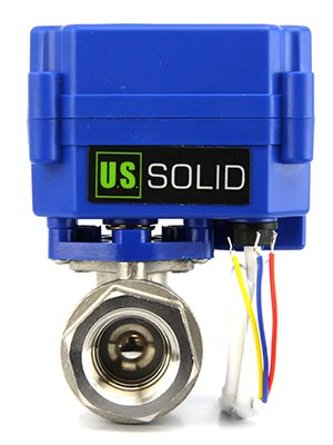 "Motorized Ball Valve- 1/2"" Stainless Steel Electrical Ball Valve with Full Port, 9-24V AC/DC and 3 Wire Setup by U.S. Solid by U.S. Solid"