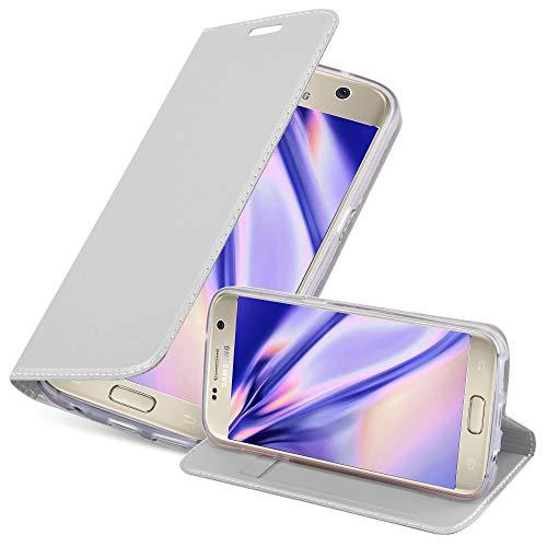 Cadorabo Hülle für Samsung Galaxy S7 - Hülle in Silber – Handyhülle mit Standfunktion und Kartenfach im Metallic Look - Case Cover Schutzhülle Etui Tasche Book Klapp Style
