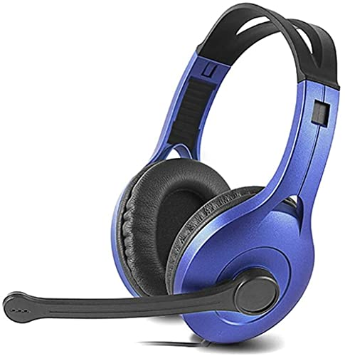 Auriculares para juegos montados en la cabeza, todo en uno con micrófono con auriculares de control remoto, negro (color: azul)
