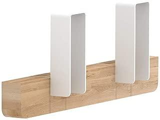 Designer Coat Rack, 4 Hooks Wall Mounted Hanger - Solid Premium Oak Wood, Unique Design by Universo Positivo, The Merlin Model (White, Small 11/2/4.3
