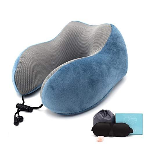 Las almohadas de espuma de memoria almohada Bolste Abrazo 30x28cm Almohada for cuello en forma de U magnética memoria apoyo for la cabeza de espuma de llenado con tapón auditivo Eyemask viaje Oficina