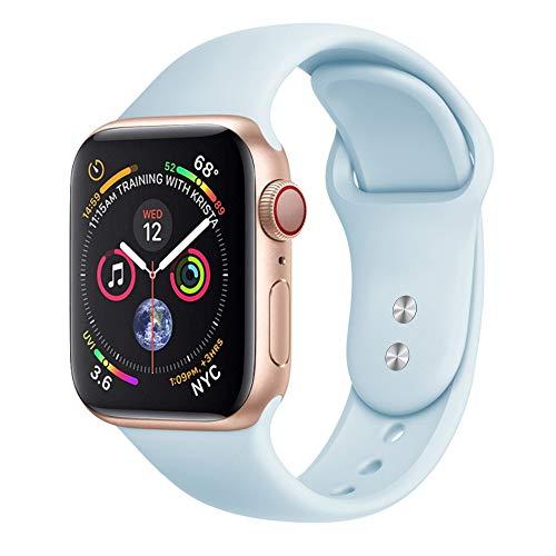 Pulseira silicone compativel para Apple watch e Iwo premium (Azul bebe 38/40mm)