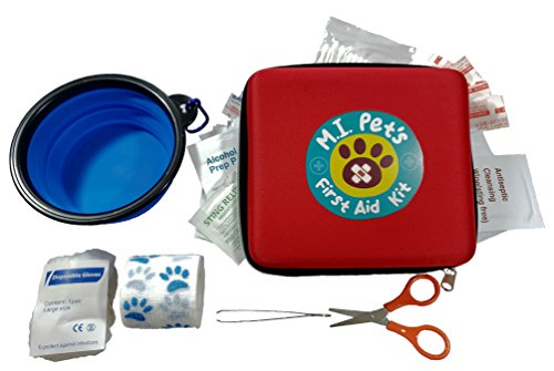 70 Piece Pet First Aid Kit with a Collapsible Food or Water...