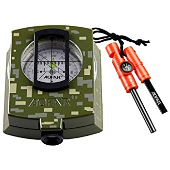 AOFAR Military Compass and Fire Starter AF-4580/381 Lensatic Sighting Survival Kit,Waterproof and Shakeproof Measure Distance Calculator and Pouch for Camping Hiking Hunting Backpacking