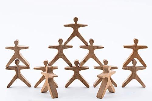 TRAUMHOLZIG Stapelakrobaten (6 teilig) Waldorfspielzeug, Heilpädagogisches Balancier-Spielzeug   handgemacht aus hochwertigem Holz und geölt (6-teilig)