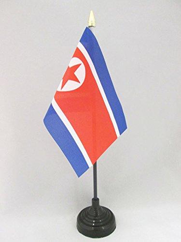 AZ FLAG Bandera de Mesa de Corea del Norte 15x10cm - BANDERINA de DESPACHO NORCOREANA 10 x 15 cm Punta Dorada