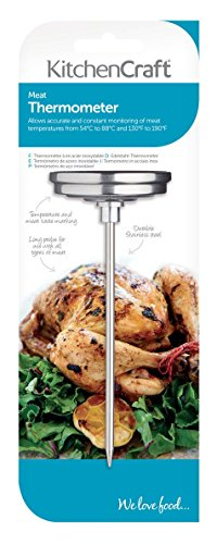 KitchenCraft Meat Thermometer Probe with Cooking Guide, Stainless Steel