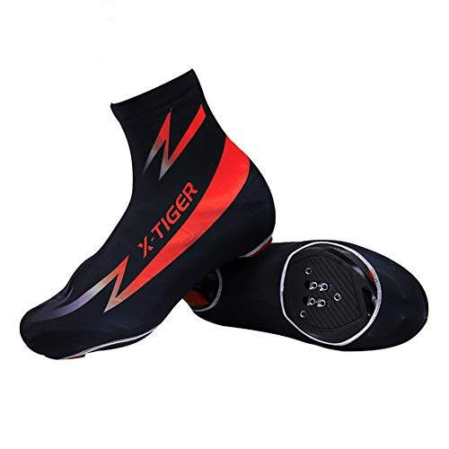 RENYAYA Cycling Shoe Covers, Unisex Windproof Overshoes, Sundried Cycling Overshoes Best for Summer, MTB Bicycle Booties Bike Cycling Accessories,Red,XL