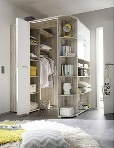 Eckschrank Corner, begehbarer Kleiderschrank, Sandeiche Weiß 146-133x198 cm