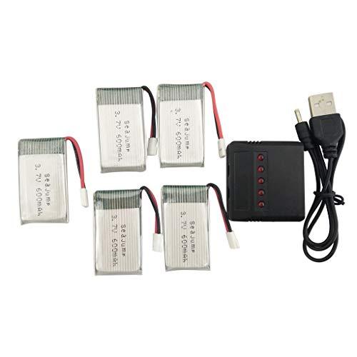 Drone Batteria 5PCS 3. 7V 600mah Li Batteria + 5in1 Balance Caricabatterie durevole per MJX X708W X708 X709 UDI U45 U45W U42 U42W SYMA X5C X5SW X5SC S5 S5C S5W E32HW SS40 FQ36 T32 T5W H42 Parti