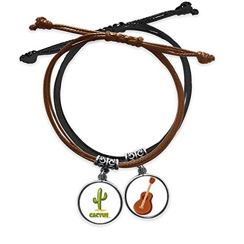 Bestchong Cactus Succulents Green Potted Plant Bracelet Rope Hand Chain Leather Guitar Wristband