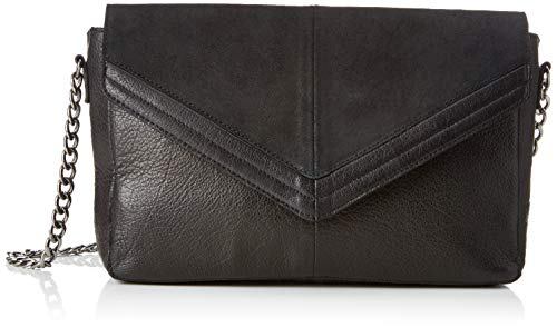 PIECES Damen Pcbella Leather Cross Body Umhängetasche, Schwarz (Black), 6x16x27 cm