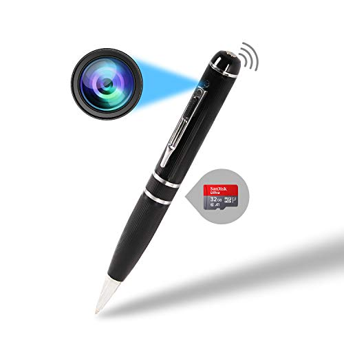 WiFi Mini Pen Cam spy Hidden Camera Video and Audio Recorder Full HD 1080P with WiFi, 32G TF-Card Loop Recording or Picture Taking for Body Home Office Outdoor Business Conference and Security