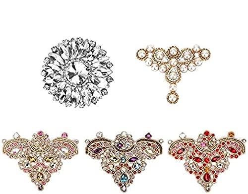 DEWIN Apliques de Diamantes de imitación - Apliques de Cristal Apliques de Cristal de Diamantes de imitación Coser en Parche de Perlas de imitación para Ropa Zapatos Bolsa 2pcs(#5)