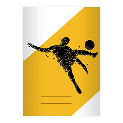 Stijlvolle voetbal DIN A4 schoolschrift, Rekenschrift met Soccer voetballers, verschillende liniëringen en kleuren (schrift 16 vellen/32 pagina's) notitieboekje, kladje voor school, universiteit, kantoor . 2 DINA4 Heft- Lin 25 gelb Standard