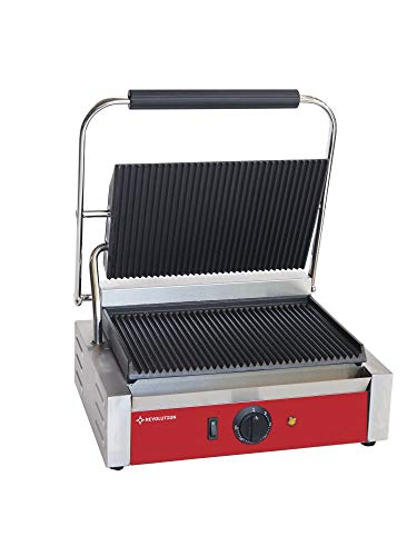 Revolution Gastro-Kontaktgrill Edelstahl | 2200 W | 41x30,5X(H) 21cm | Temperaturbereich bis zu 300°C | mit 2 mit Gusseisen Grillpatten | Profi Elektro-Grill ideal als Panini Grill Maker | Rot
