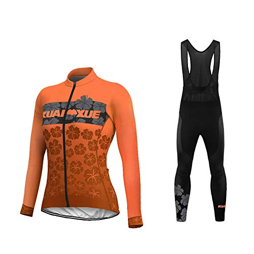 Uglyfrog Invierno Thermo Fleece Ciclismo Ropa Maillot Mujer Jersey+Pantalones Largos Culote de Ciclismo Conjunto Entretiempo para Deportes al Aire Libre Ciclo Bicicleta Raya Diseño ZRWL01F