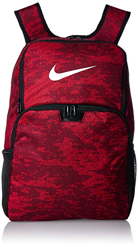 NIKE Brasilia XLarge Backpack 9.0 All Over Print, Team Red/Habanero Red/White, Misc