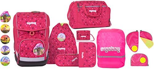 ergobag cubo HufBäreisen Schulranzen-Set 5tlg. + Sporttasche + Brustbeutel + Sicherheitsset & Regencape Pink