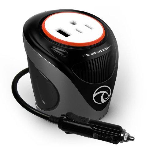 PowerBright XC180 - Inversor de Tazas, 180 W, 12 V CC, Encendedor de Cigarrillos a 120 V CA para Poder portátil portátil y más con 3 Puertos USB 2.1 A, Compatible con iPad y...
