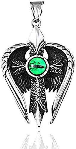 ZPPYMXGZ Co.,ltd Collar de Moda Pluma ala de ángel Collar Colgante Ojo Ojo Moda para Hombre Cuerda Carga Gargantilla Joyería Joyería Vintage Collar para niños Longitud 60 cm Collar