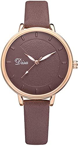 JZDH Mano Reloj Relojes de Mujer Relojes de Pulsera Classic Simple Señoras Aleación Reloj Falso Faux Cinturón Unisex Color Puro Casual Reloj Cuarzo Marrón Relojes Decorativos Casuales
