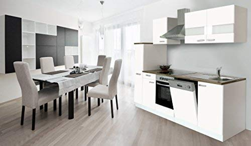 respekta keuken kitchenette inbouwkeuken keukenblok 250 cm wit soft close ceran