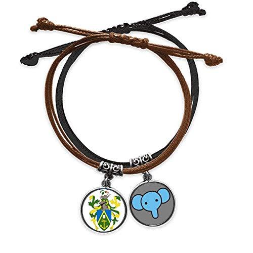 CaoGSH - Braccialetto con stemma nazionale delle isole Pitcairn Oceania, catena a mano in pelle, con elefante