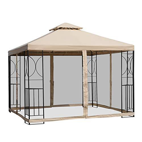 Outsunny Gartenpavillon Pavillon Festzelt Partyzelt wetterfest Zelt mit 4 Ablagen Metall + Polyester Beige 3 x 3 m
