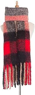 WUNONG-AU Square Lattice Ladies Thick Coarse Tassel Keep Warm Shawl Autumn Winter Loop Yarn Scarf (Color : Khaki, Size : 190cm)