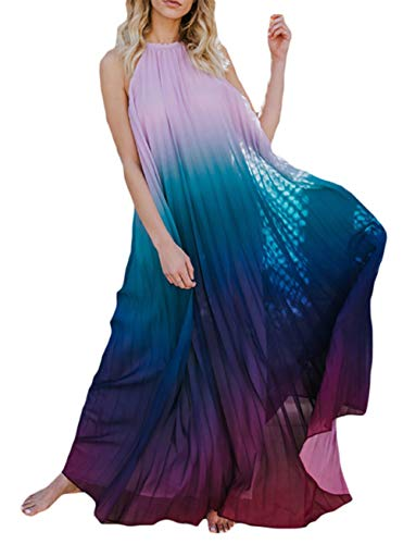 HANMAX Damen Rückenfrei Chiffonkleid Sommerkleid Urlaub Strandkleid Poncho Maxikleid Partykleid Cocktail-Outfits
