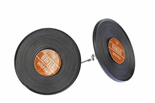 Record Earrings Ear Studs Earstuds Miniblings DJ Music Vinyl Band Star Red