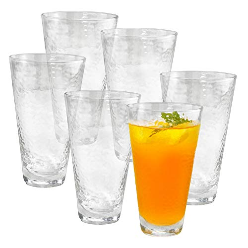 HORLIMER 14 oz Highball Drinking Glasses Set of 6 Clear Glass Tumbler with Textured Design and Heavy Base for Water Wine Juice Latte