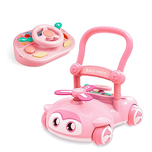 Sit-to-Stand Learning Walker, 2 in 1 Walker for Baby Boy Girl, EVA Flash Lamp Blades, Kids Early Educational Detachable Activity Center, Baby Push Walkers for Gift Babies Over 10 Months(Pink)