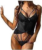 QJHDO Conjuntos De Lencería para Mujeconjuntos De Lencería para Mujer Ropa De Dormir De Talla Grande Lencería Sexy para Mujer Perspectiva Ropa Interior De Encaje Tentación out Costume-Black_XL