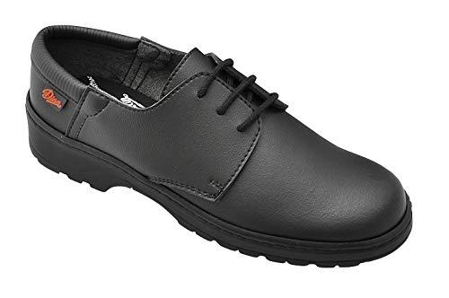 DIAN Niza Zapato con Cierre de Cordones, Antideslizante de Gran Coeficiente en Seco y Húmedo, SRC+O1+FO, Negro, Talla 40 EU