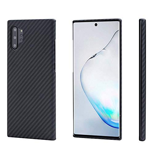 pitaka Magnetische Hülle Kompatibel mit Samsung Galaxy Note 10+, MagEZ Hülle [Aramidfaser] Minimalistische Handyhülle Ultra dünn & Super leicht, 3D Haptik-Schwarz/Grau(Köperbindung)