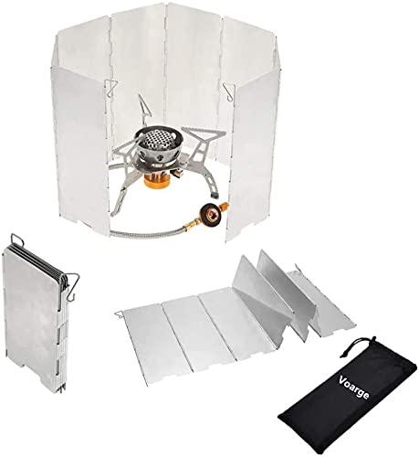 Voarge Parabrisas plegable de aluminio para exterior, cortavientos, con 8 láminas de aluminio, para cocina de camping, cocina de gas
