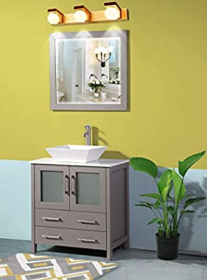 Vanity Art 30 Inch Single Sink Bathroom Vanity Set 1 Shelf 2 Drawers Quartz Top and Ceramic Vessel Sink Bathroom Cabinet with Free Mirror VA3130-G