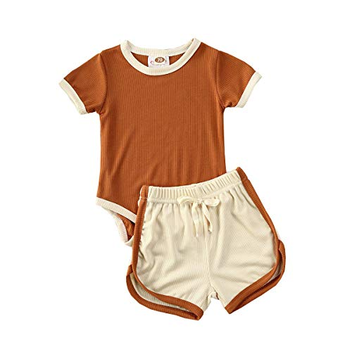 Newborn Baby Girl Clothes Romper Tops Short Sleeve Bodysuit T-Shirt Elastic Waist Shorts Solid 2Pcs Nightgown Outfit Set(Romper-Brown+Beige,0-6M)