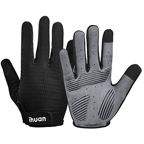 Ihuan Weight Lifting Gym Workout Gloves Full Finger with Wrist Wrap Support for Men & Women, Full Palm Protection, for Weightlifting, Training, Fitness, Hanging, Pull ups