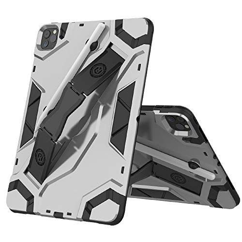 LESLEY LM For iPad Pro 11 (2020) Escort Series TPU + PC Shockproof Protective Case with Holder 2021 NEW MODEL (Color : Silver)