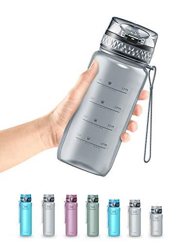 OMORC Bottiglia d'Acqua Sportiva,Borraccia Acqua Senza BPA ,con Indicatore del Tempo e Filtro, Bottiglia a Prova di...