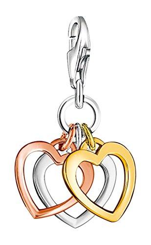 Thomas Sabo Damen-Charm-Anhänger Herzen Charm Club 925 Sterling Silber 750 gelbgold rosegold vergoldet 0959-431-12
