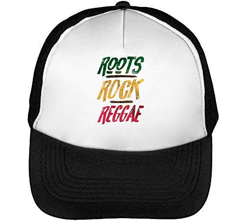 Roots Rock Reggae Gorras Hombre Snapback Beisbol Negro Blanco One Size