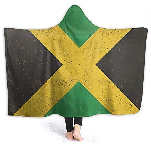 AEMAPE Bandera de Jamaica Manta con Capucha para Mujer Manta de Franela súper Suave Sudadera con Capucha Bata con Capucha para Vestir Capa con Capucha para Ver películas 60 'x 50'