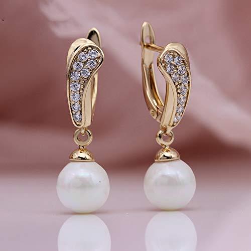 NOBRAND Pendientes De Mujer Las Perlas De Concha Cuelgan Un Arete Pequeño De Oro Rosa con Circón Natural Largo
