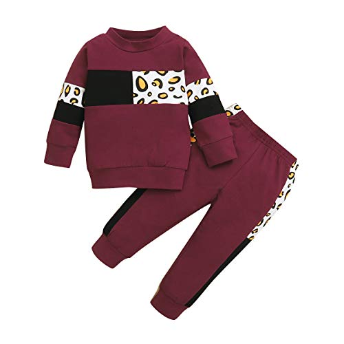 Happy Town Newborn Baby Girls' Clothing Boy Long Sleeve Top and Long Pants Set Baby Girl Sweat Outfits (Leopard-Wine Red, 0-6 Months)