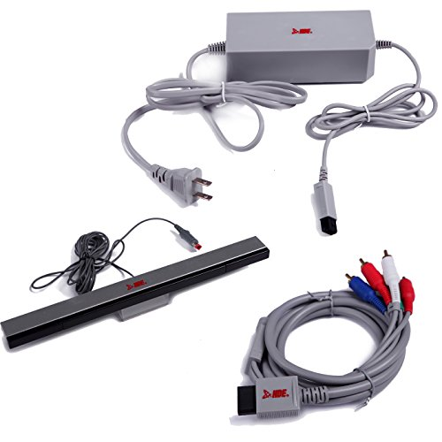 HDE Accessory Pack for Nintendo Wii AC Power Adapter Block Component A/V HDTV Cable and Wired Motion Sensor Bar for Nintendo Wii